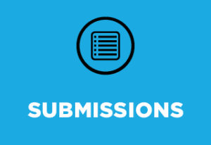 """On a bright blue background, white text in all caps says """"submissions"""". Above that in a black circle is an icon of a lined sheet of notebook paper."""