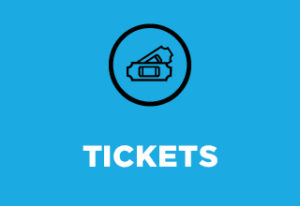 """In a circle, two tickets overlap. Text reads """"Tickets"""""""